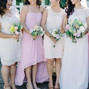 David's Bridal Formal strapless dress hi low